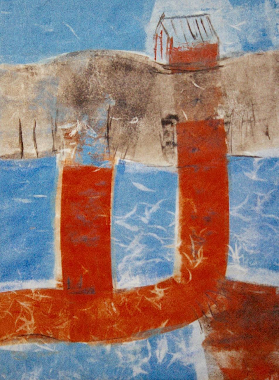 """Narrow-land Dune-shack"", mono print, 14""H x 11""W, 2017"