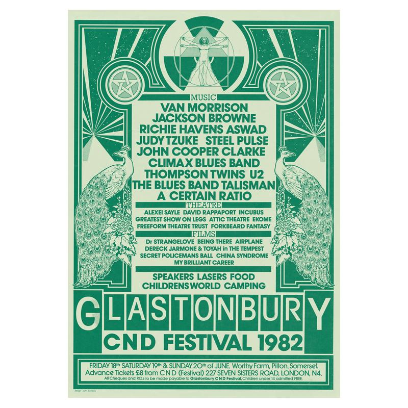 Glastonbury poster 1982 - One of the biggest UK festivals based in Somerset, England, Glastonbury has been thriving since 1970.
