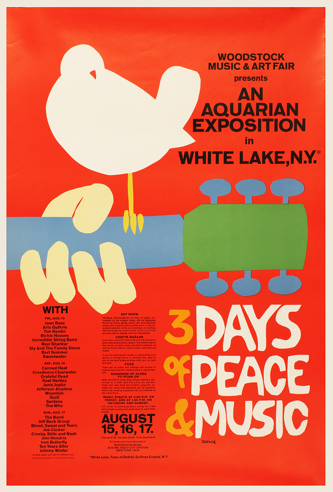 An iconic poster for Woodstock '69. This American festival aired in 1969 on a diary farm and attracted an audience over 400,000.