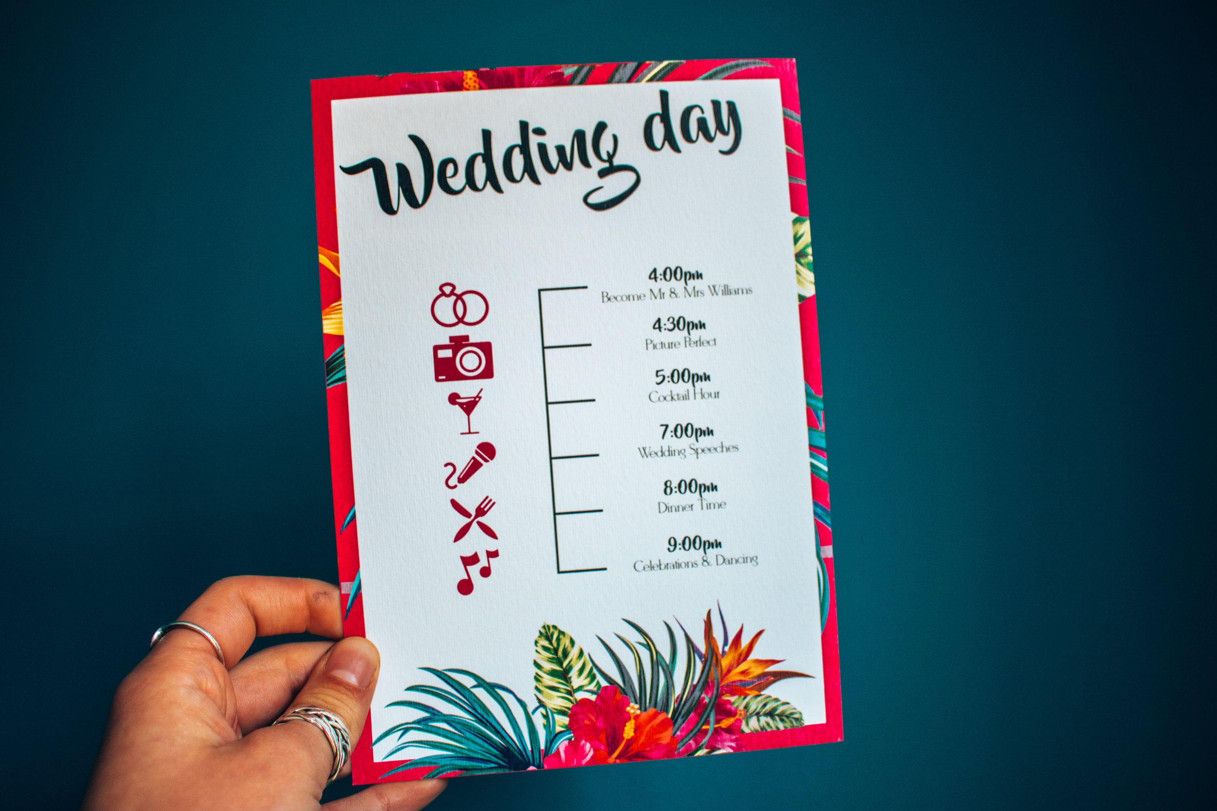 wedding day itinerary tropical style