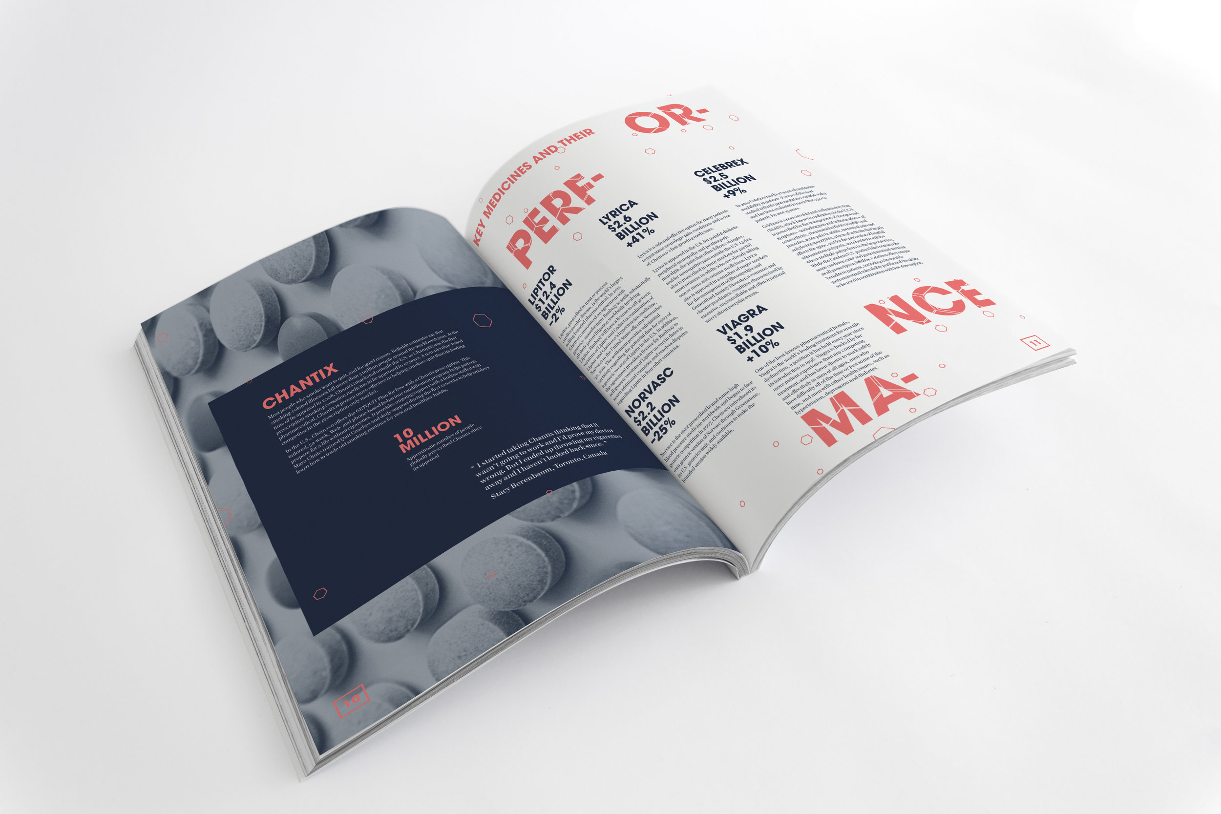 Annual report pharmaceutical design typography and geometric shapes