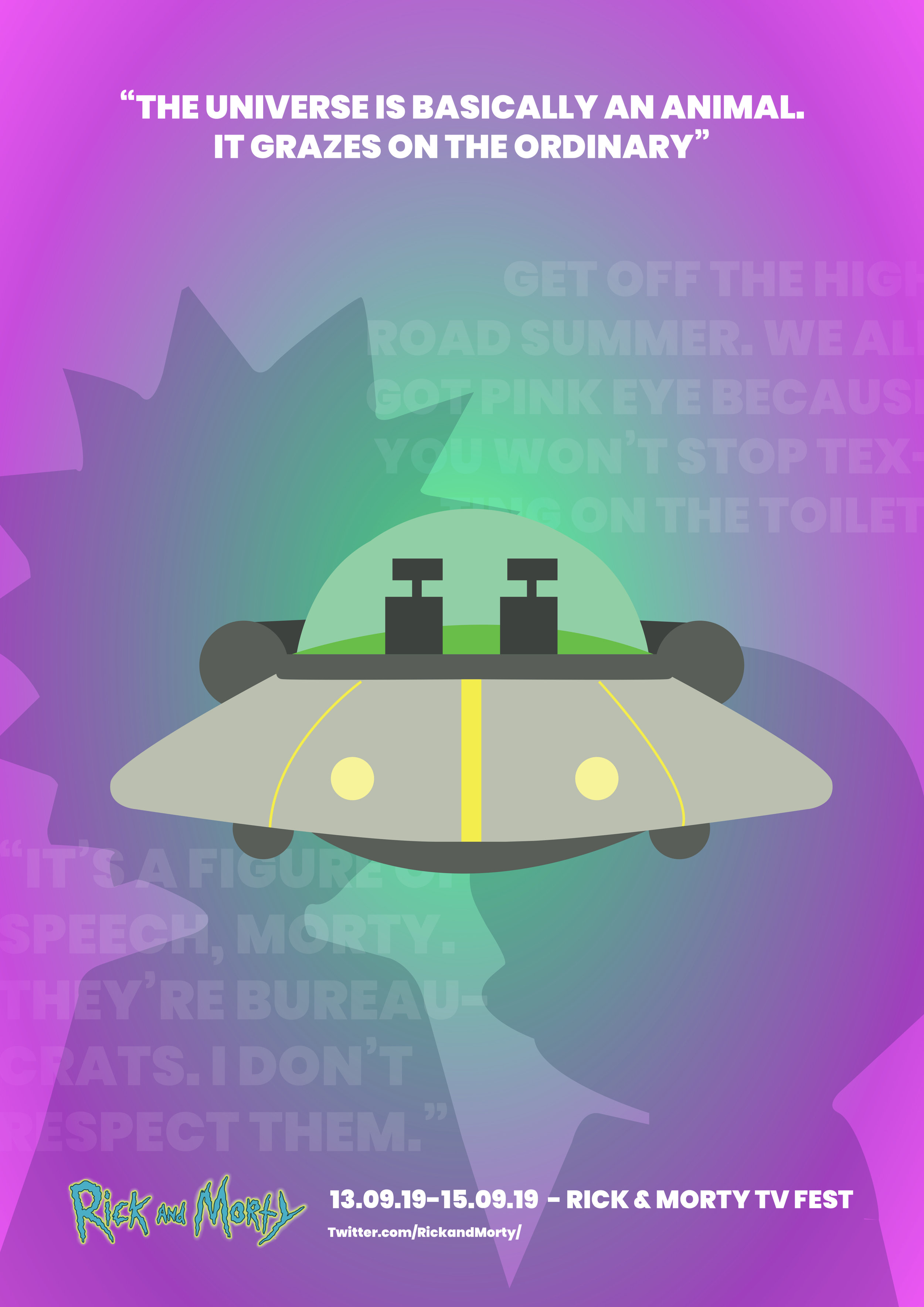 Rick and Morty Minimal Poster space ship