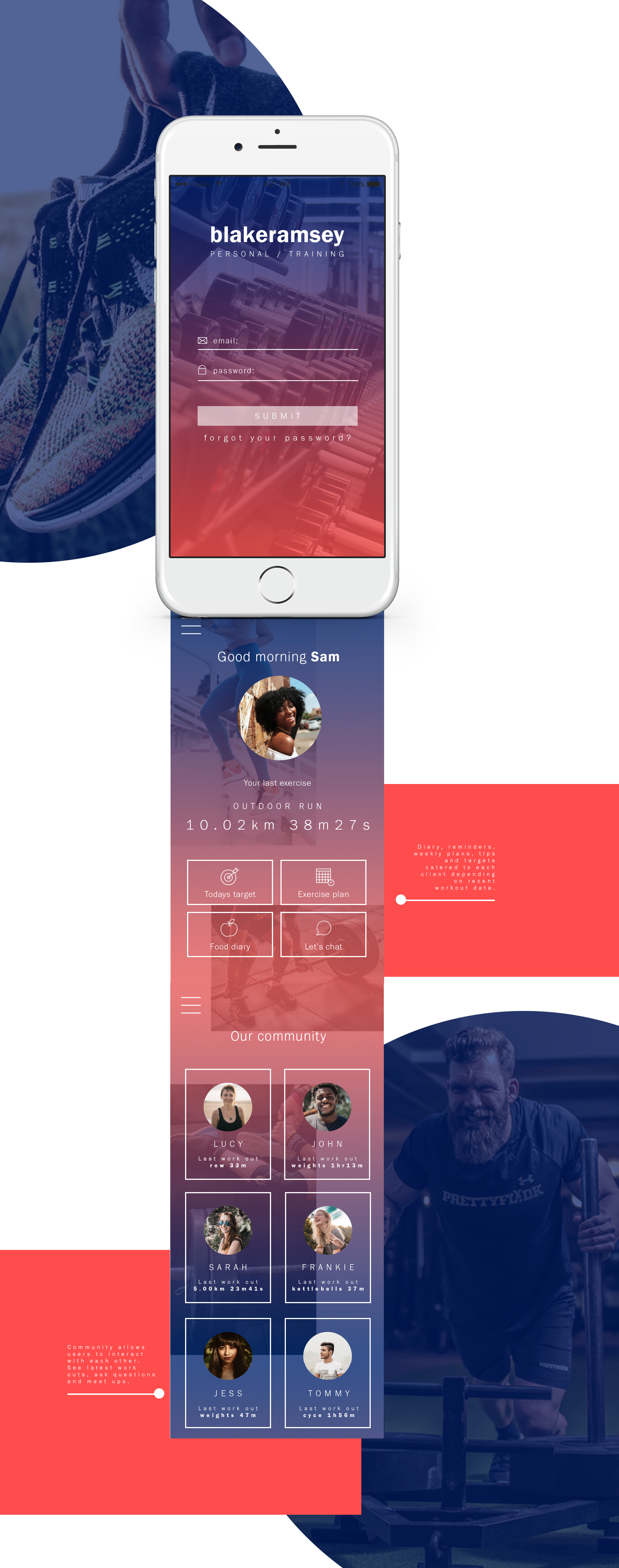 Fitness app design online personal trainer