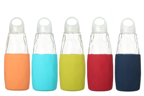 Refillable, Eco-Safe Glass Water Bottle   Starting at $14.99 Colors: Orange, Navy Blue, Green, Blue, Red, Black