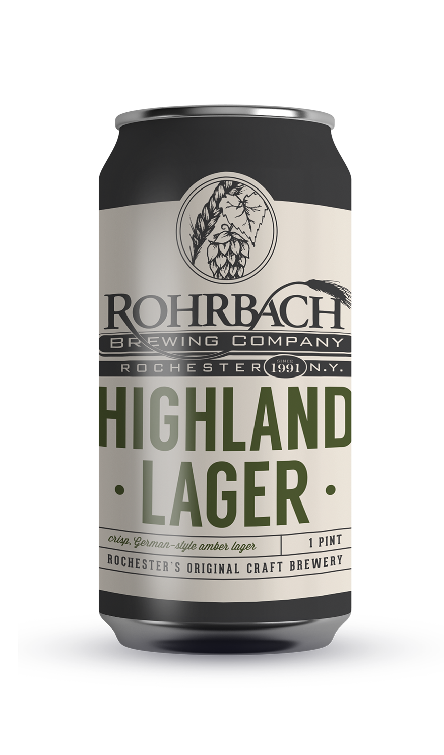 HIGHLAND LAGER  An amber lager brewed with Munich, Vienna, and wheat malts to give the beer a subtle toasty flavor.  ABV 5.0% | IBU 11 | SRM 20
