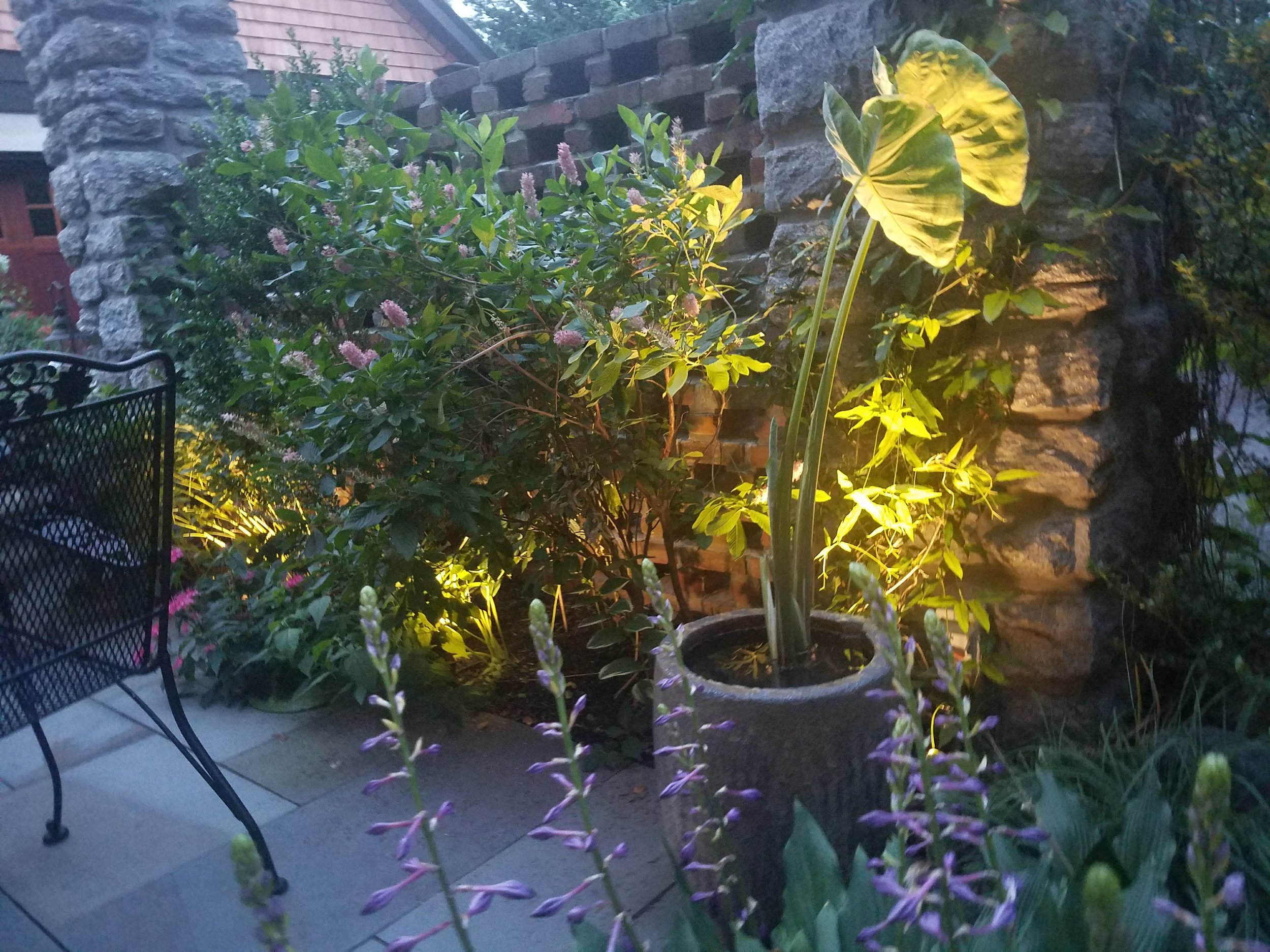 Lighting   Philadelphia Gardens installs low-voltage LED lighting which comes with 1-year of free maintenance, and many of the fixtures have 10 year guarantees. We offer a free demonstration to go over different fixtures / options that work best for showing off your garden at night.