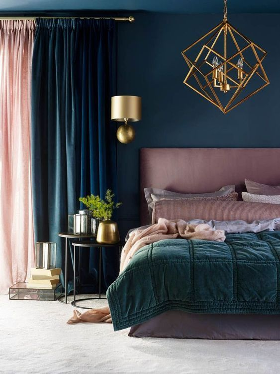 All the colours work in harmony with the curtains and the bed accessories