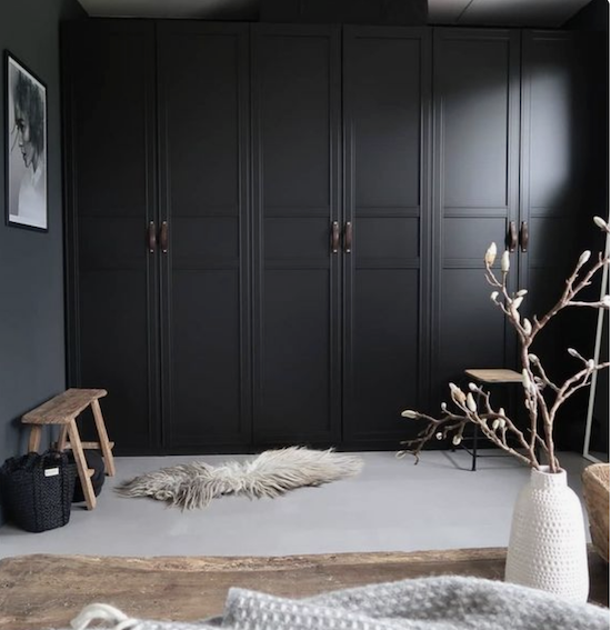 Ikea Wardrobes with beautiful leather handles