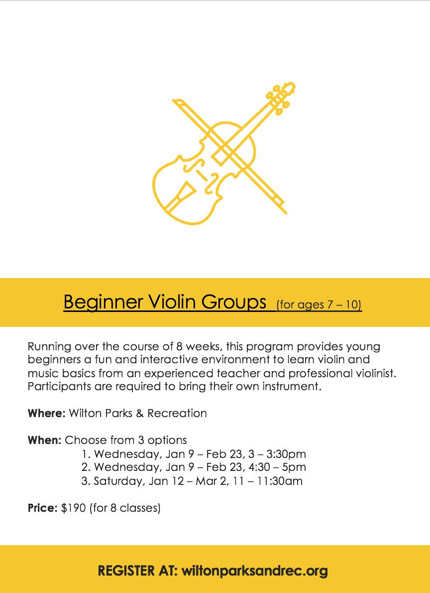 Beginner Violin Program at Wilton Parks and Recreation