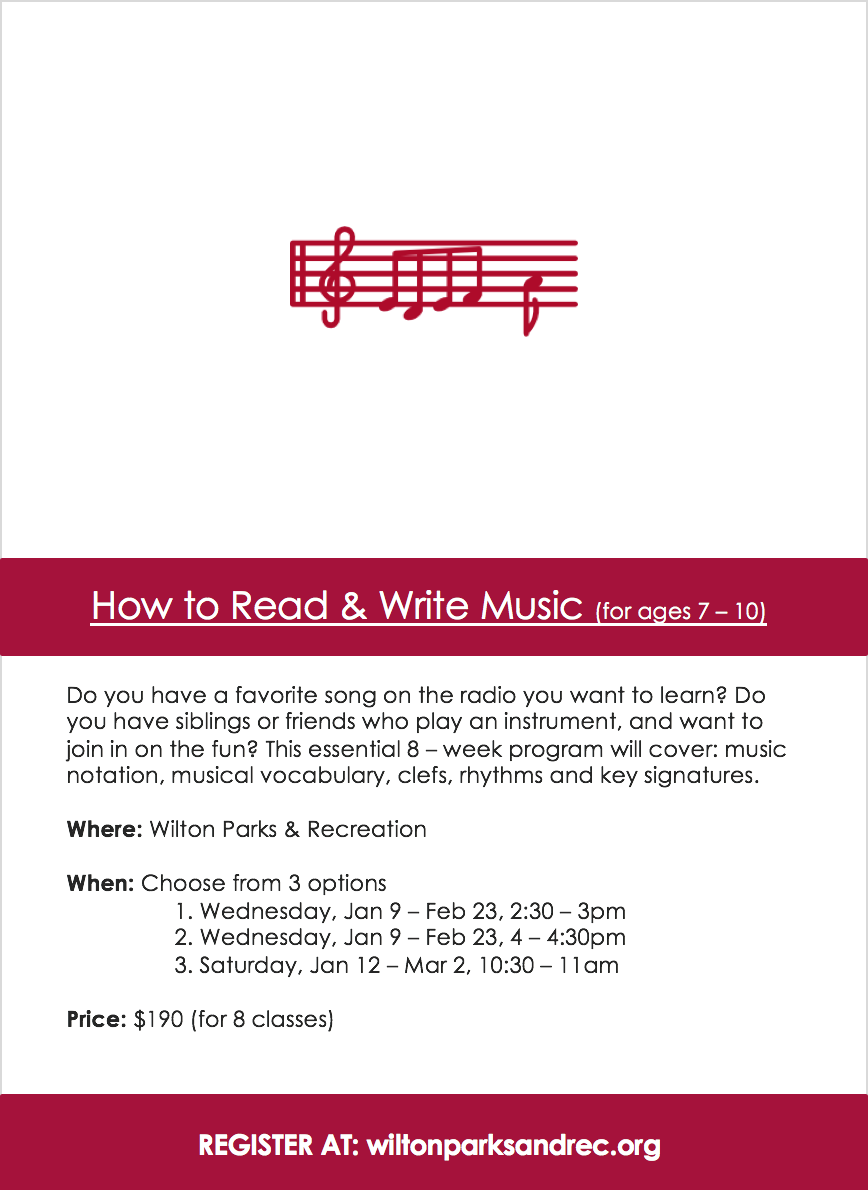 How to Read and Write Music at Wilton Parks and Recreation