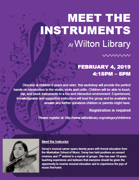 Meet the Instruments at Wilton Library