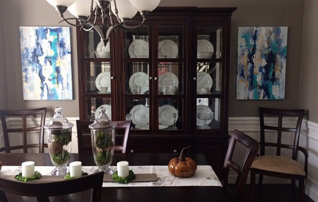 Commissioned duo installed for Medina, Ohio dining room, 2017