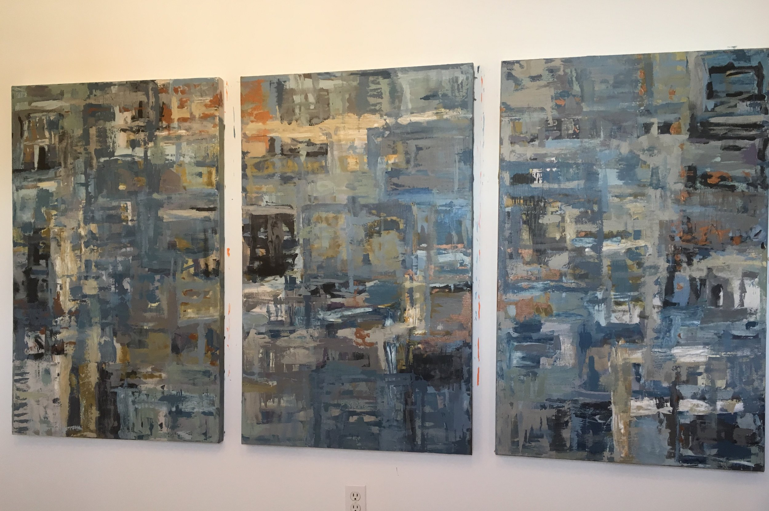 """Commissioned triptych, (3) panels, 30"""" x 48"""" each created for North Ridgeville, Ohio client; seen in studio; 2018"""