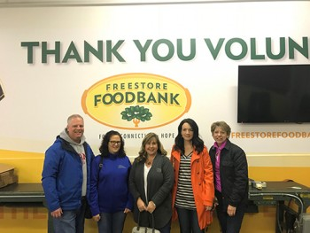 From left, Bruce Berno, Kim Masco, Donna Ellis, Joanne Skinner, and Kathy Blain at the Berno Financial Management inaugural day of service.