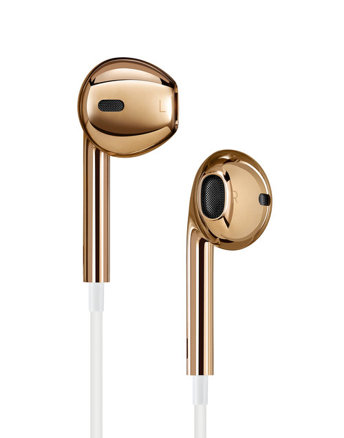 APPLE INC. PAIR OF SOLID ROSE GOLD EARPODS   Photography Andrew Zuckerman