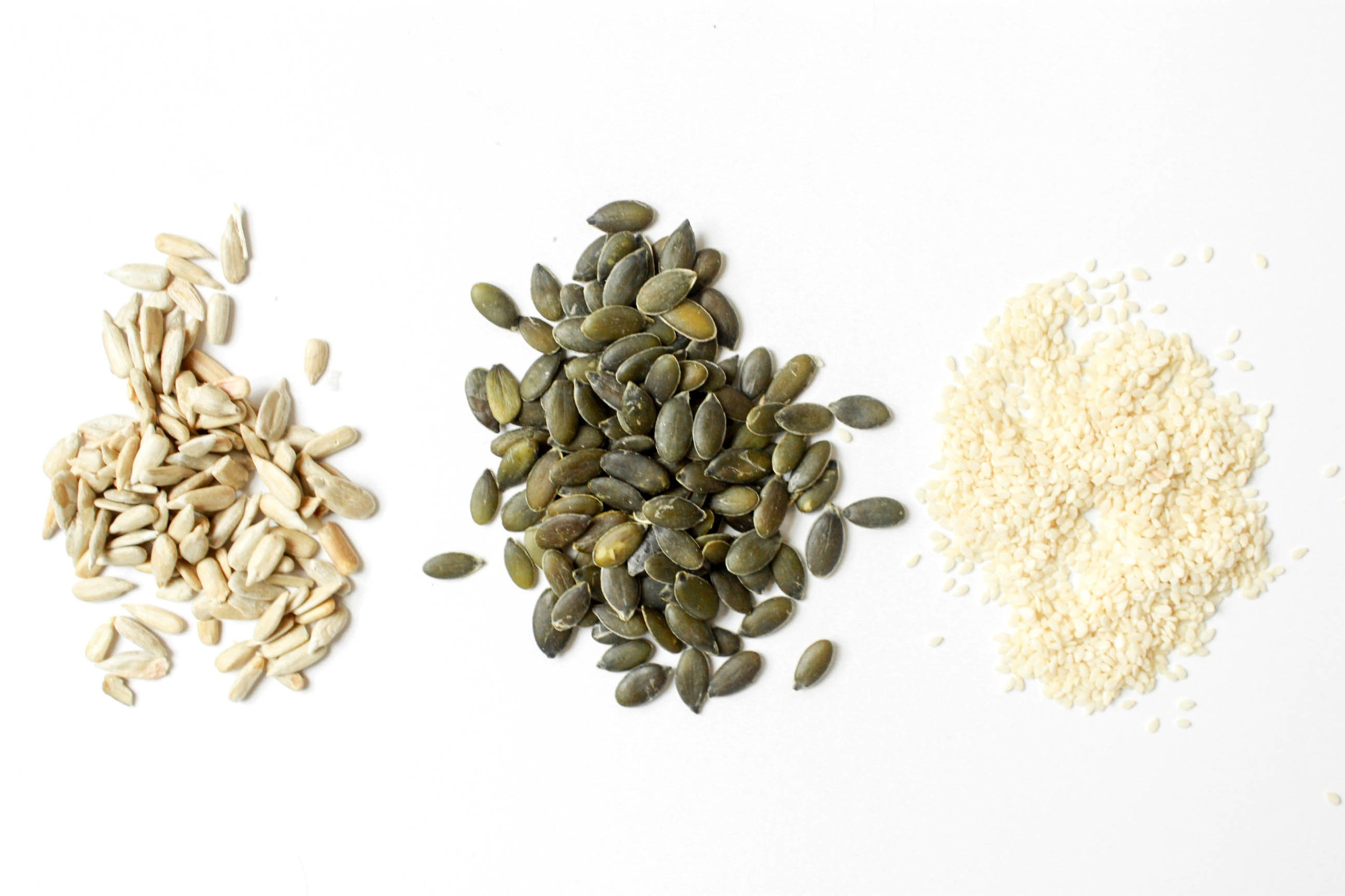 All of our seeds are hand roasted, without oil or salt. Flax, sunflower seeds, pepitas, and sesame seeds are some of our favorites. They contain healthy fats, fiber, iron, calcium, and magnesium that help to boost energy levels and prevent hypertension.