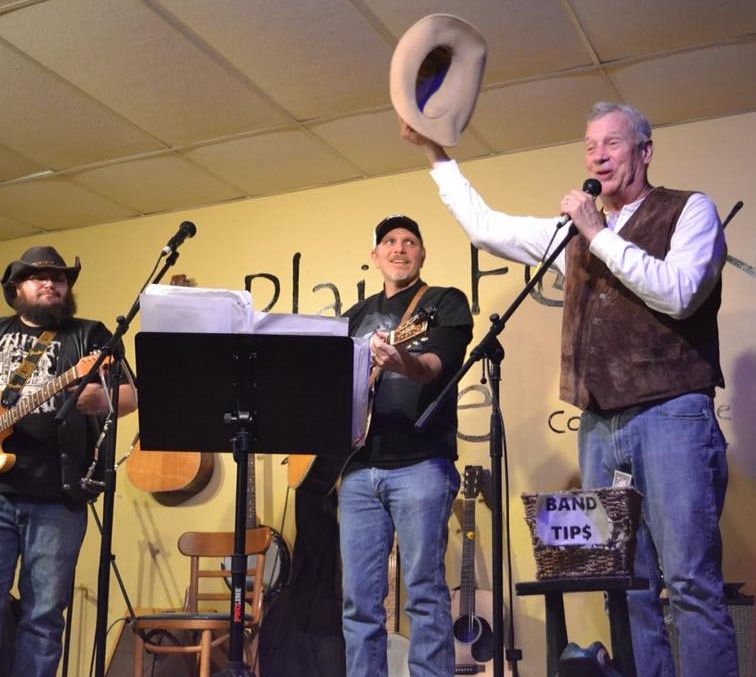 Left to right: Nick Geise, Bruce Beverly and Lars Noble performing at  Plain Folk Cafe