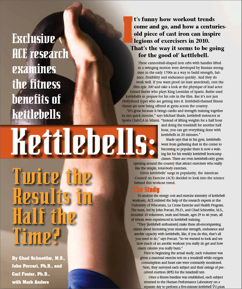"ABOUT RUSSIAN KETTLEBELL TRAINING - An independent study by the American Counsel on Exercise (A.C.E.) confirms that kettlebell training IS the ULTIMATE form of conditioning! The results of the study revealed that the subjects ""were burning at least 20.2 - 28 calories per minute (that's over 600 calories in 30 min), which is off the charts.That's equivalent to running a 6-minute mile pace."" Not only is the caloric expenditure of the Kettlebell workout very high, but the long term metabolic effects of integrating a total body workout turn your body into a fat burning furnace long after the workout is finished.READ THE FULL ARTICLE HERE"