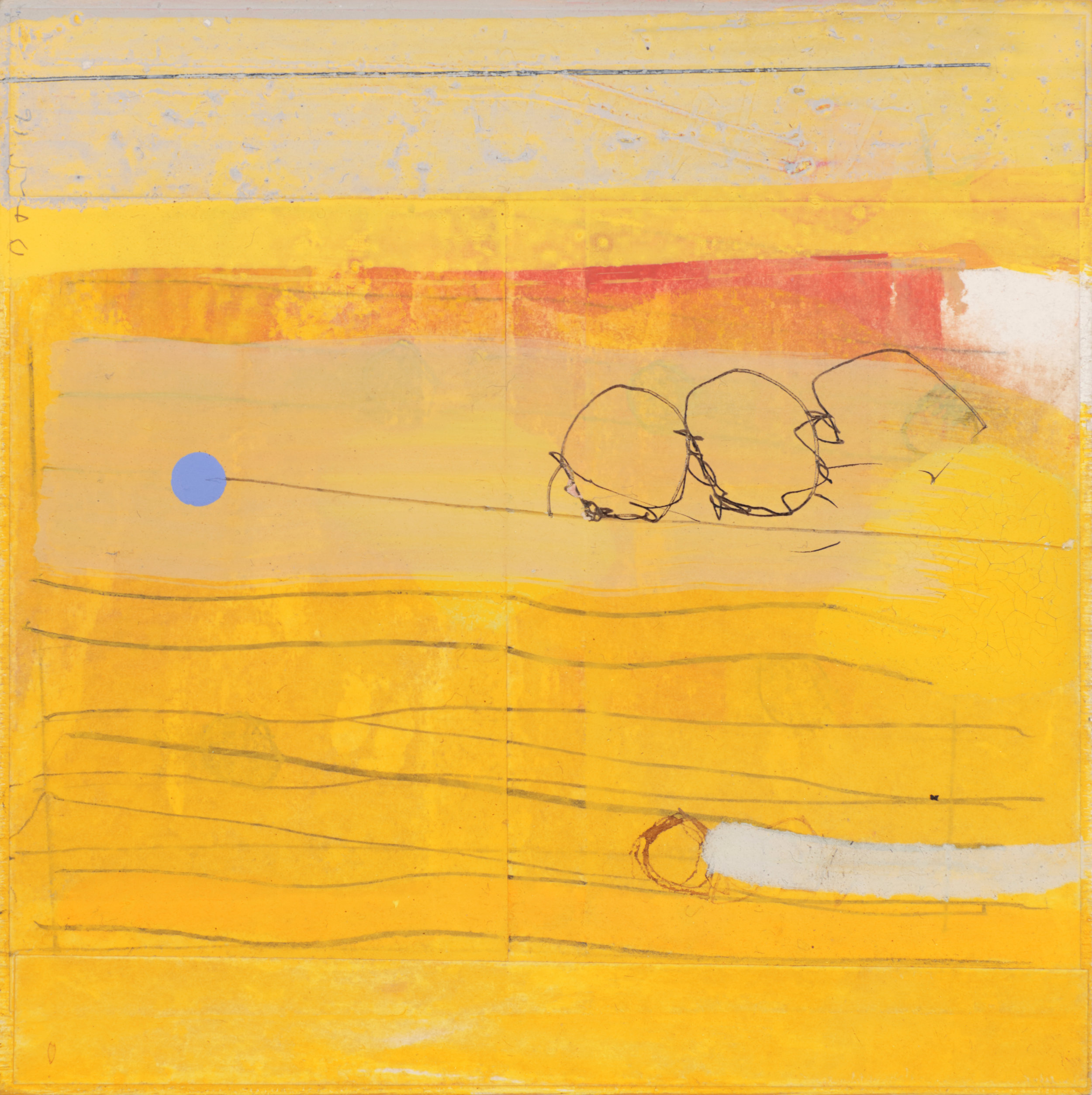 Yellow And Friends  5.75'' x 5.75''  2016  oil, pencil, collage, ink on wood panel