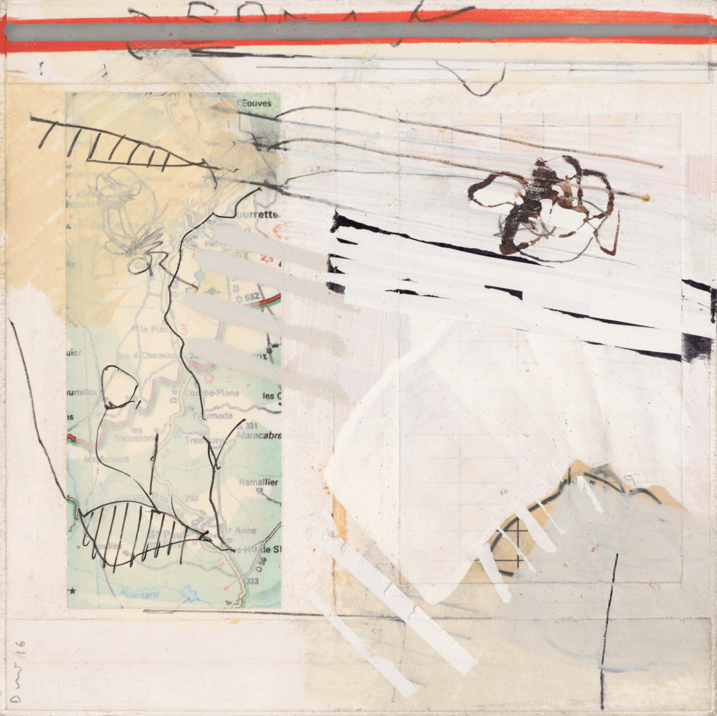 En Provence  5.75'' x 5.75''  2016  oil, pencil, collage, ink on wood panel