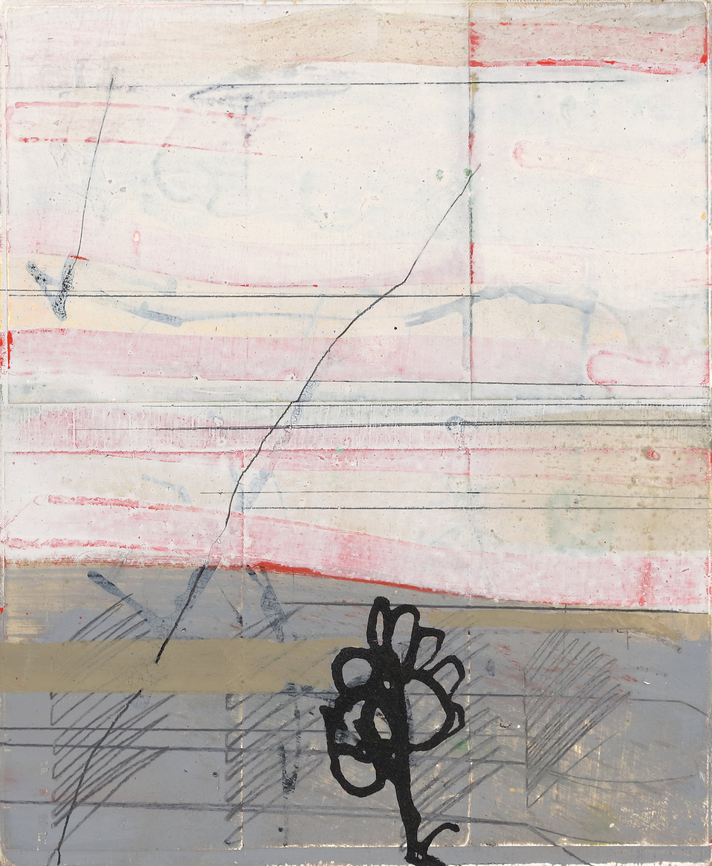 Yet 2011  11'' x 9''  oil, pencil, collage, ink on 4-ply museum board mounted on wood panel