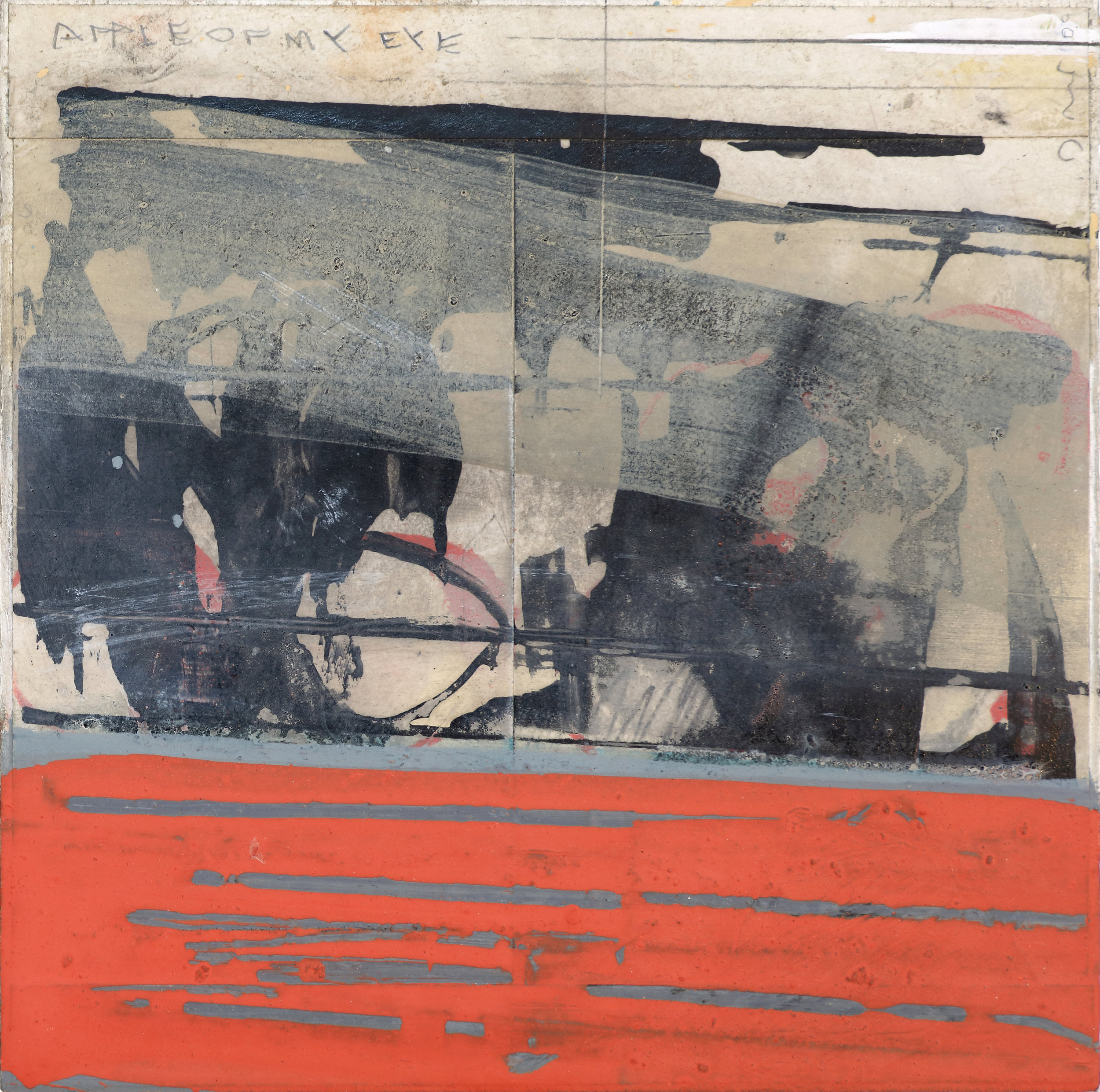 Found 2015 5.75'' x 5.75''  oil, pencil, collage, ink on wood panel