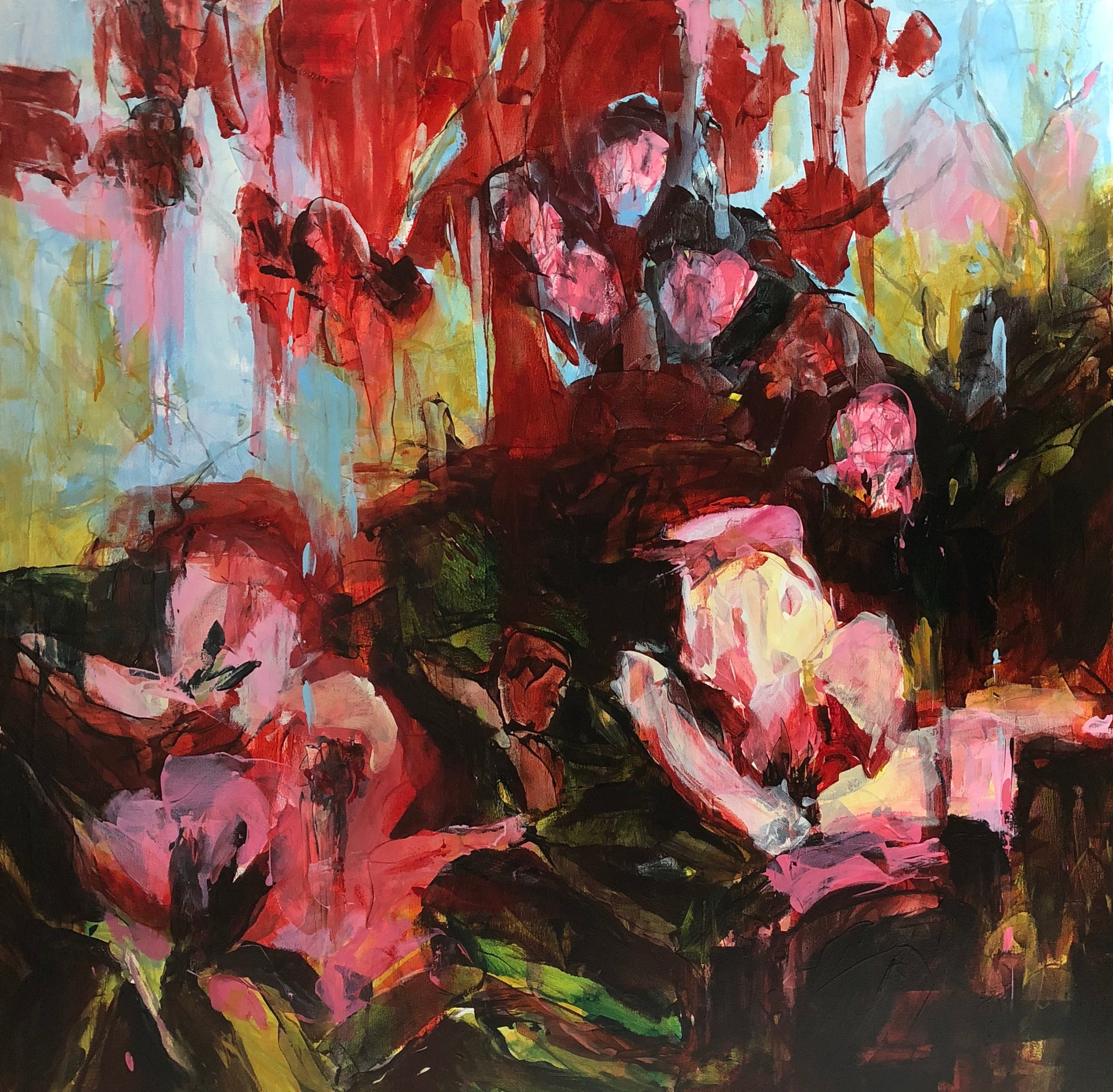 Connie Connally. Maroon Garden 2018 36x36, oil on canvas