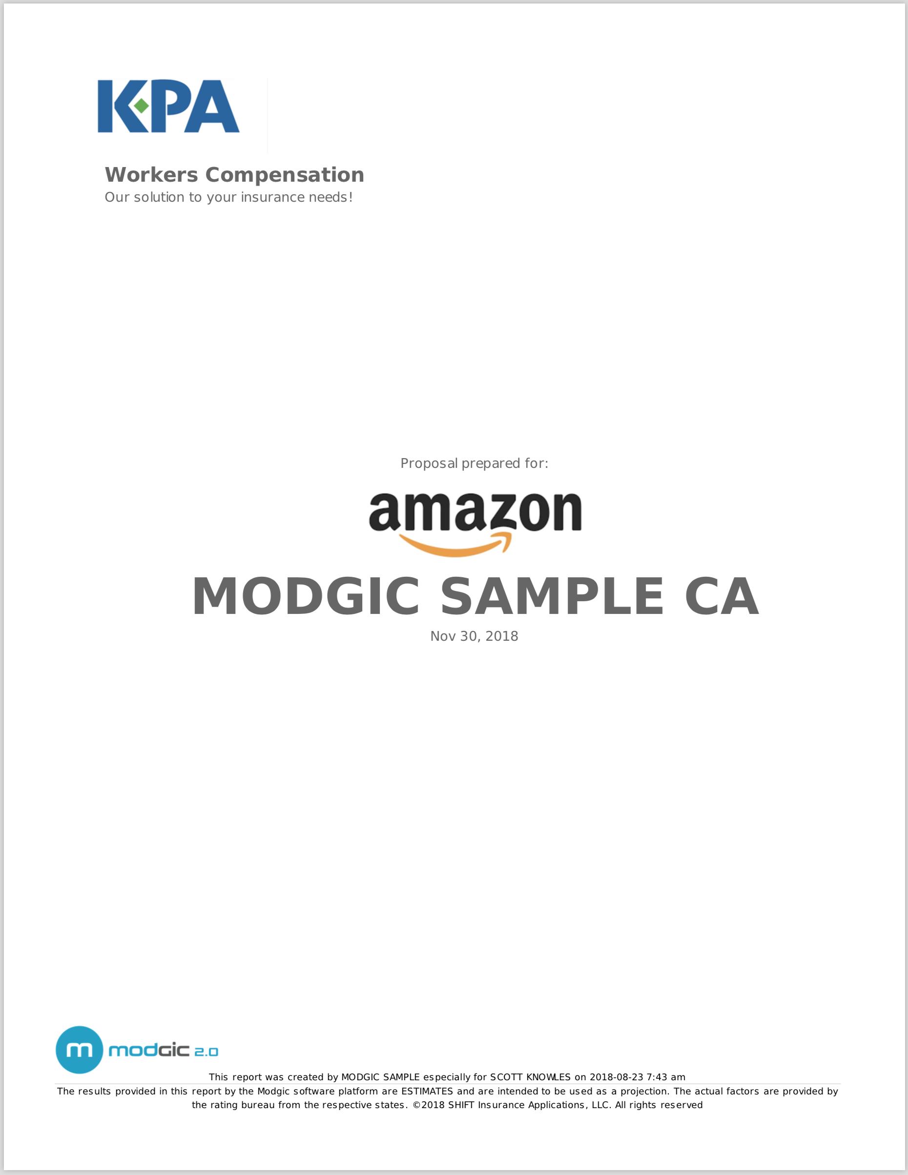 California Sample Reports
