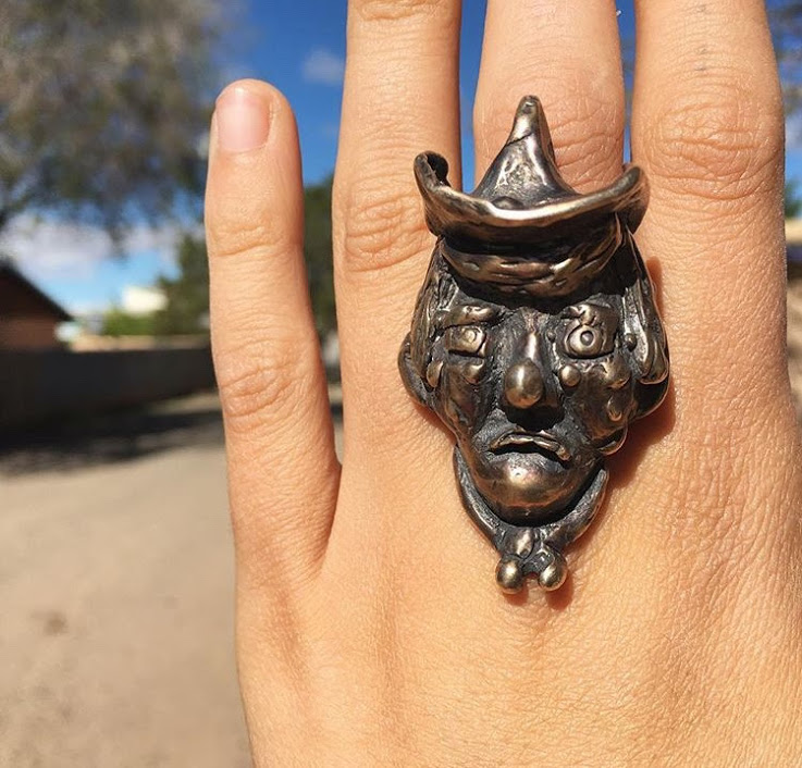 Rodeo Clown Ring   Bronze (lost wax cast)  1 in x 1/2 in x 1/2 in