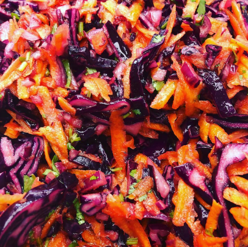 Red cabbage & lime slaw -