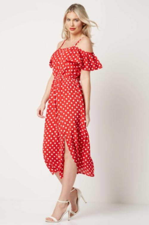 Polka dot cold shoulder dress, £35, Roman Originals