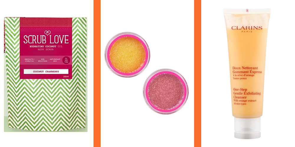 Scrub Love Coconut Body Scrub, £10    Jeffree Star Cosmetics Velour Lip Scrub, £12    Clarins One-Step Gentle Exfoliating Cleanser Orange Extract, £19.95