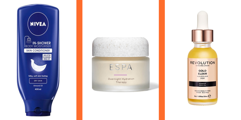 Nivea In Shower Dry Body Moisturiser, £5.29    ESPA Overnight Hydration Therapy, £37    Revolution Skin Rosehip Seed Oil in Gold Elixir, £10