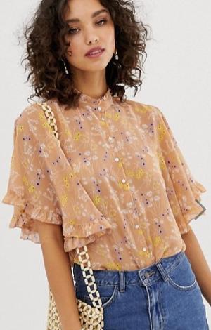 Vero Moda floral ruffle sleeve blouse, £28, ASOS