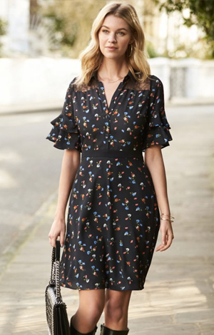 Black ditsy shirt dress, £69, Sosandar