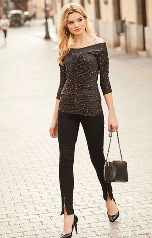 Black zip jeans, £49