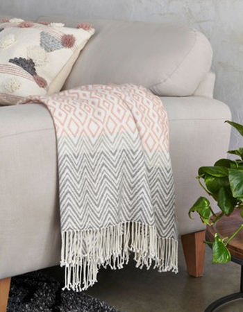 Pink woven throw, £25, Next