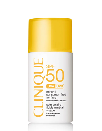 Mineral Sunscreen Fluid for Face SPF50 £22, Clinique