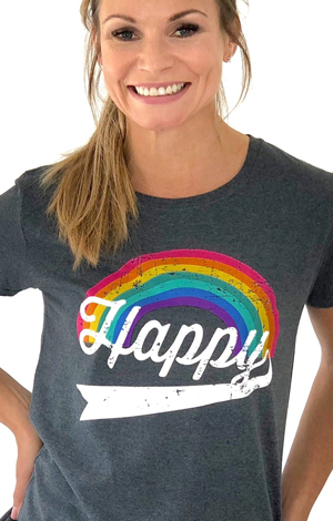 Happy rainbow tee, £25, Pickle London