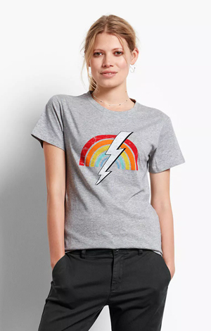 Rainbow bolt tee, £35, Hush