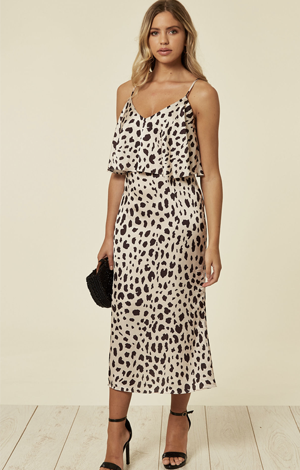 Animal print slip dress, £55, SilkFred