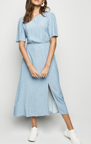 Blue Ditsy Floral Split Midi Dress, £27.99, New Look