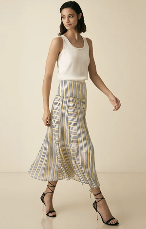 Maggie striped midi skirt, £155, Reiss