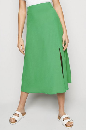 Green Midi Side Split Skirt, £17.99, New Look