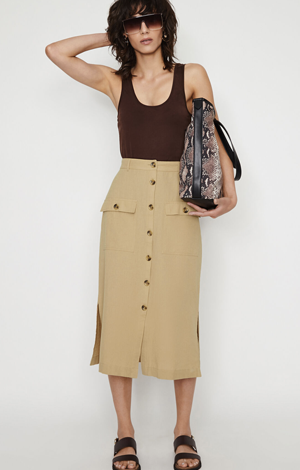 Linen mix midi pencil skirt, £36, Warehouse
