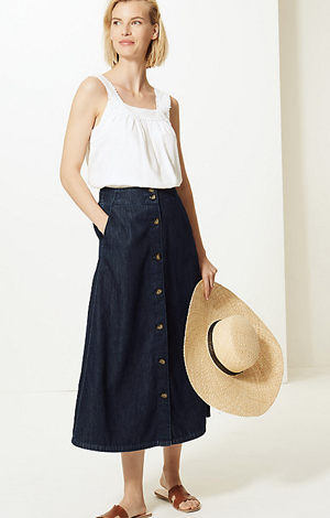Button Detailed Denim Midi Skirt, £18, M&S