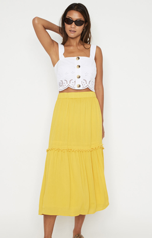 Pom Pom Midi Skirt, £36, Warehouse