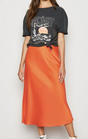 Bright Orange Satin Midi Skirt, £19.99, New Look