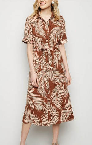 Brown palm tree dress, £25.99, New Look