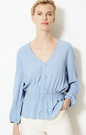 Waisted blue blouse, £25, M&S